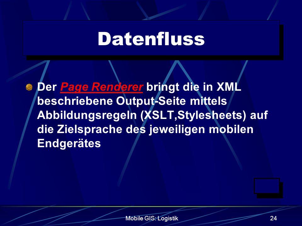 Mobile GIS: Logistik24 Datenfluss Der Page Renderer bringt die in XML beschriebene Output-Seite mittels Abbildungsregeln (XSLT,Stylesheets) auf die Zi