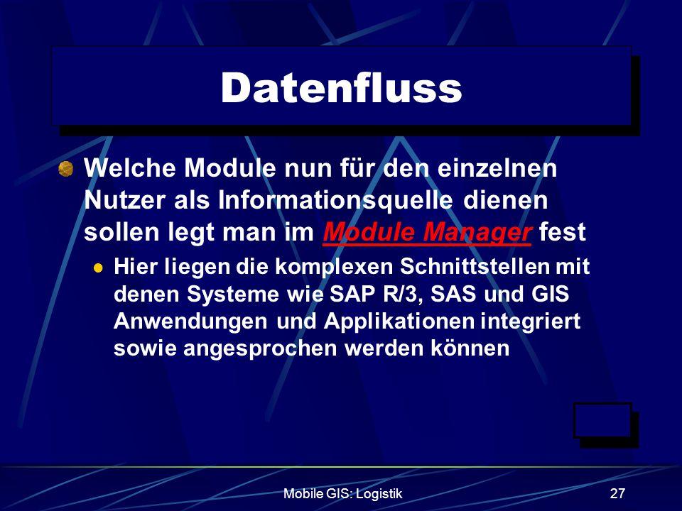 Mobile GIS: Logistik27 Datenfluss Welche Module nun für den einzelnen Nutzer als Informationsquelle dienen sollen legt man im Module Manager fest Hier