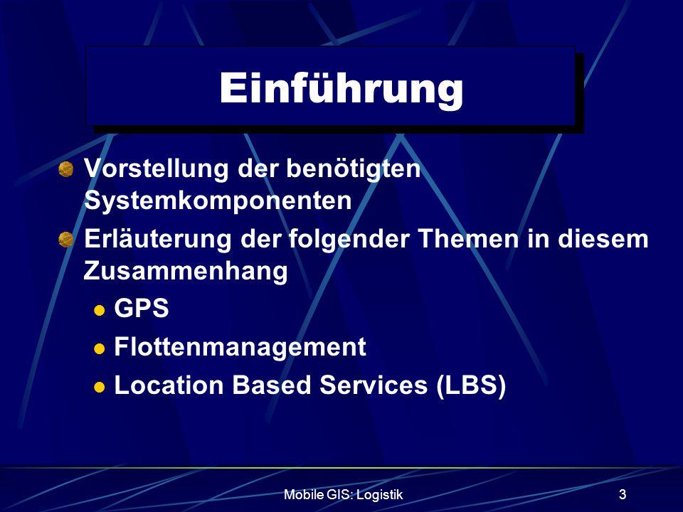 Mobile GIS: Logistik4 Einführung Ziel der Mobilen GIS-Systeme in der Logistik sind Anpassungsfähige Routenplanung Transparente Routenkontrolle Erhöhung des Verkehrsflusses durch modernes Verkehrsmanagement Senken der Umweltbelastung Überwachung der Fahrzeuge und ihrer Fracht Erhöhung der Wettbewerbsfähigkeit und senken der Betriebskosten