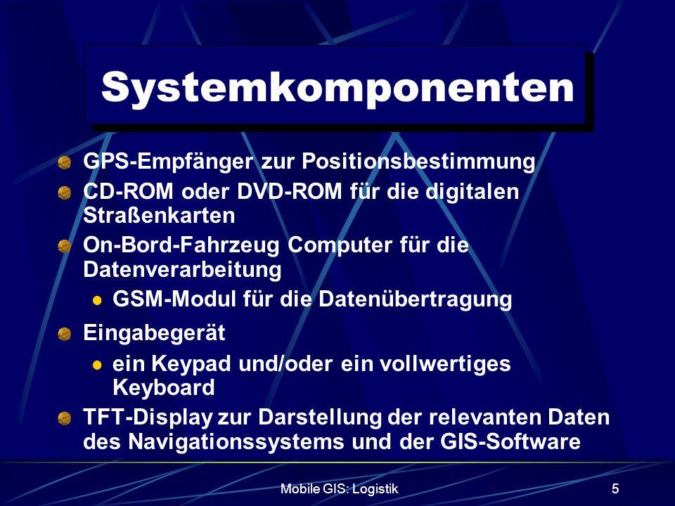 Mobile GIS: Logistik5 Systemkomponenten GPS-Empfänger zur Positionsbestimmung CD-ROM oder DVD-ROM für die digitalen Straßenkarten On-Bord-Fahrzeug Com