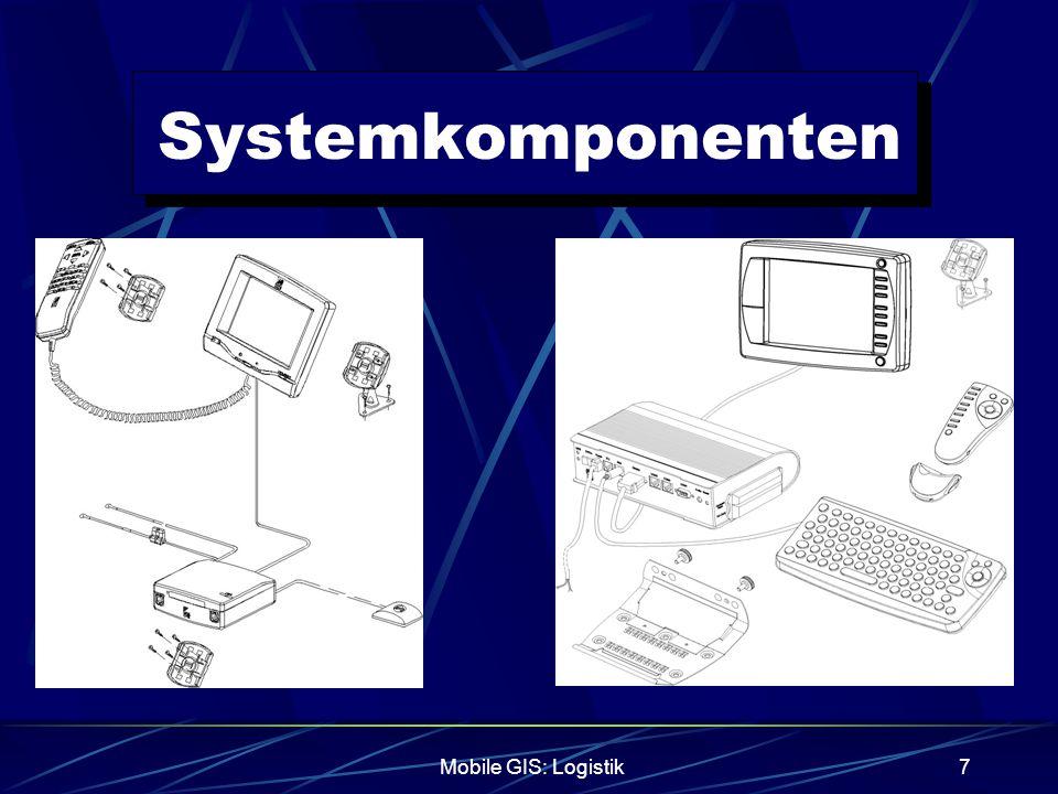 Mobile GIS: Logistik8 Systemkomponenten Bordrechner C1104GM der Firma Aplicom (Finnland) 15,6(B)*5(H)*16,6(T)[cm] 12 kanal-GPS-Empfänger Schneller Kaltstart von 100[ms] Wiederaufnahme der Messung nach Signalverlust in 60[ms] Messung erfolgt kontinuierlich GSM-Modul (Nokia,Ericsson) 32 Bit Prozessor, 3 RS-232 Schnittstellen für Peripherie Temperaturbereich -25°[C] bis +55°[C]