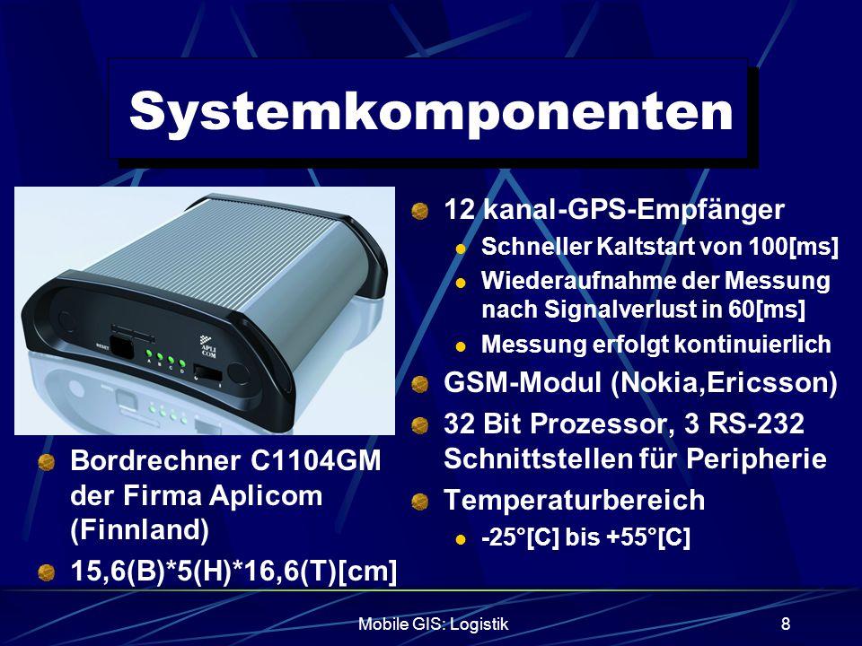 Mobile GIS: Logistik9 Systemkomponenten Die Datenübertragung erfolgt über das integrierte GSM-Modul Die Daten werden in festgelegten Zeitabschnitten und Ereignisbezogen übertragen  Fahrzeug hält oder Ziel ist erreicht Eine kontinuierliche Verbindung ist noch zu teuer, UMTS wird dies ändern Über den Server eines Telematic-Dienst- Anbieters werden die relevanten Daten abgerufen und die Verbindung zur Zentrale hergestellt