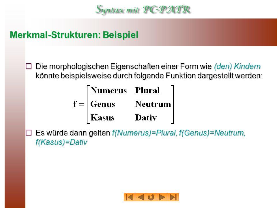 Merkmal-Strukturen: Beispiel  Die morphologischen Eigenschaften einer Form wie (den) Kindern könnte beispielsweise durch folgende Funktion dargestellt werden:  Es würde dann gelten f(Numerus)=Plural, f(Genus)=Neutrum, f(Kasus)=Dativ
