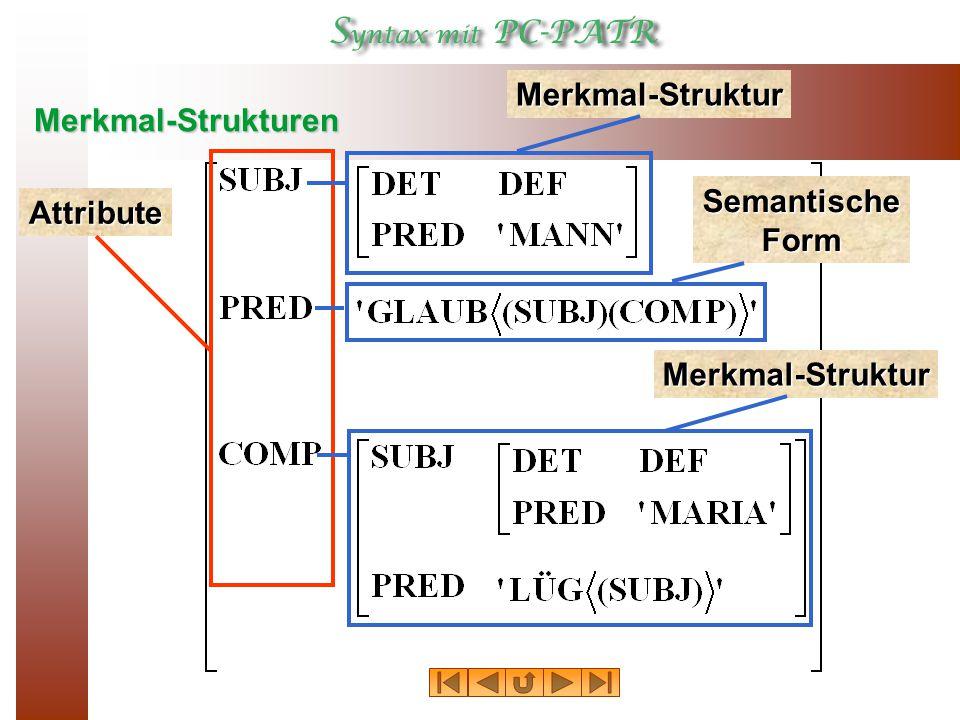 Merkmal-Strukturen Attribute Merkmal-Struktur Semantische Form Merkmal-Struktur