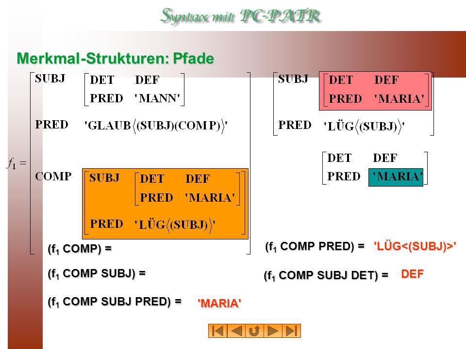 Merkmal-Strukturen: Pfade (f 1 COMP) = (f 1 COMP SUBJ) = (f 1 COMP SUBJ PRED) = (f 1 COMP PRED) = (f 1 COMP SUBJ DET) = MARIA DEF LÜG<(SUBJ)>