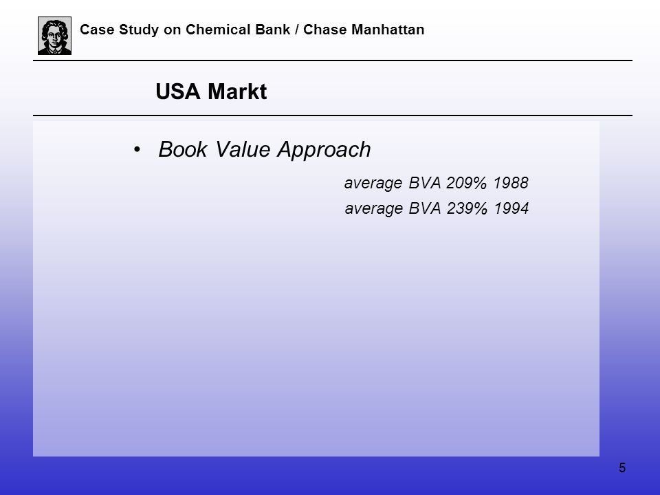 5 Case Study on Chemical Bank / Chase Manhattan USA Markt Book Value Approach average BVA 209% 1988 average BVA 239% 1994