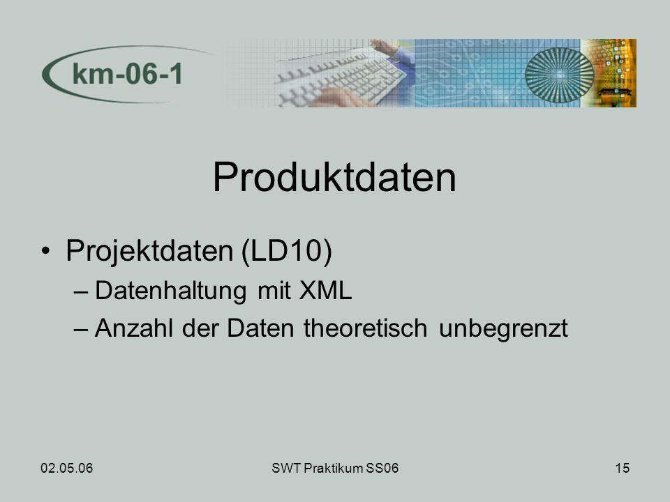 02.05.06SWT Praktikum SS0615 Produktdaten Projektdaten (LD10) –Datenhaltung mit XML –Anzahl der Daten theoretisch unbegrenzt