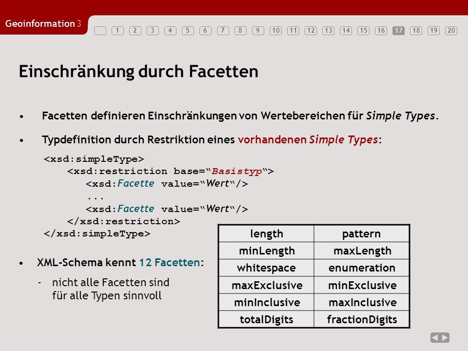 1234567891011121314151617181920 Geoinformation3 17 Facetten definieren Einschränkungen von Wertebereichen für Simple Types.