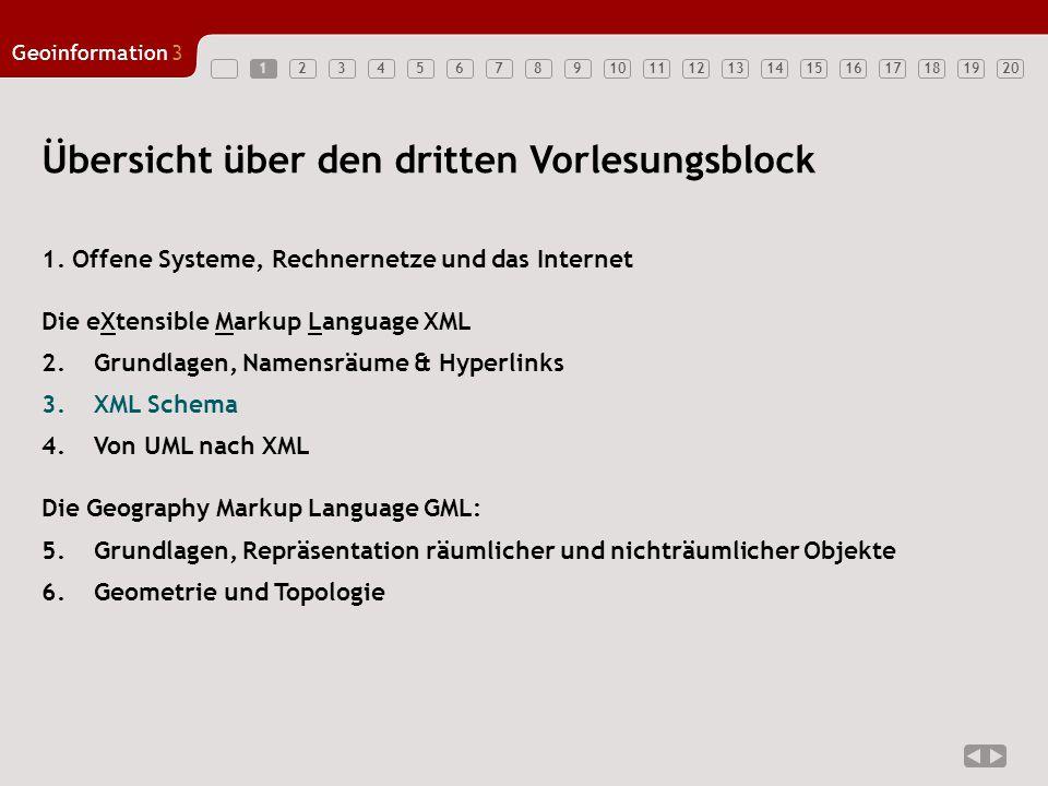 1234567891011121314151617181920 Geoinformation3 1 Übersicht über den dritten Vorlesungsblock 1.