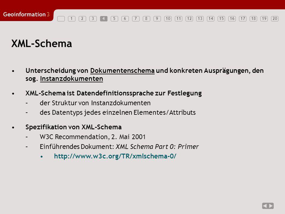1234567891011121314151617181920 Geoinformation3 4 Unterscheidung von Dokumentenschema und konkreten Ausprägungen, den sog.