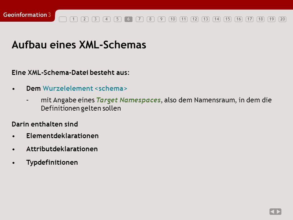 1234567891011121314151617181920 Geoinformation3 6 Aufbau eines XML-Schemas Eine XML-Schema-Datei besteht aus: Dem Wurzelelement –mit Angabe eines Target Namespaces, also dem Namensraum, in dem die Definitionen gelten sollen Darin enthalten sind Elementdeklarationen Attributdeklarationen Typdefinitionen