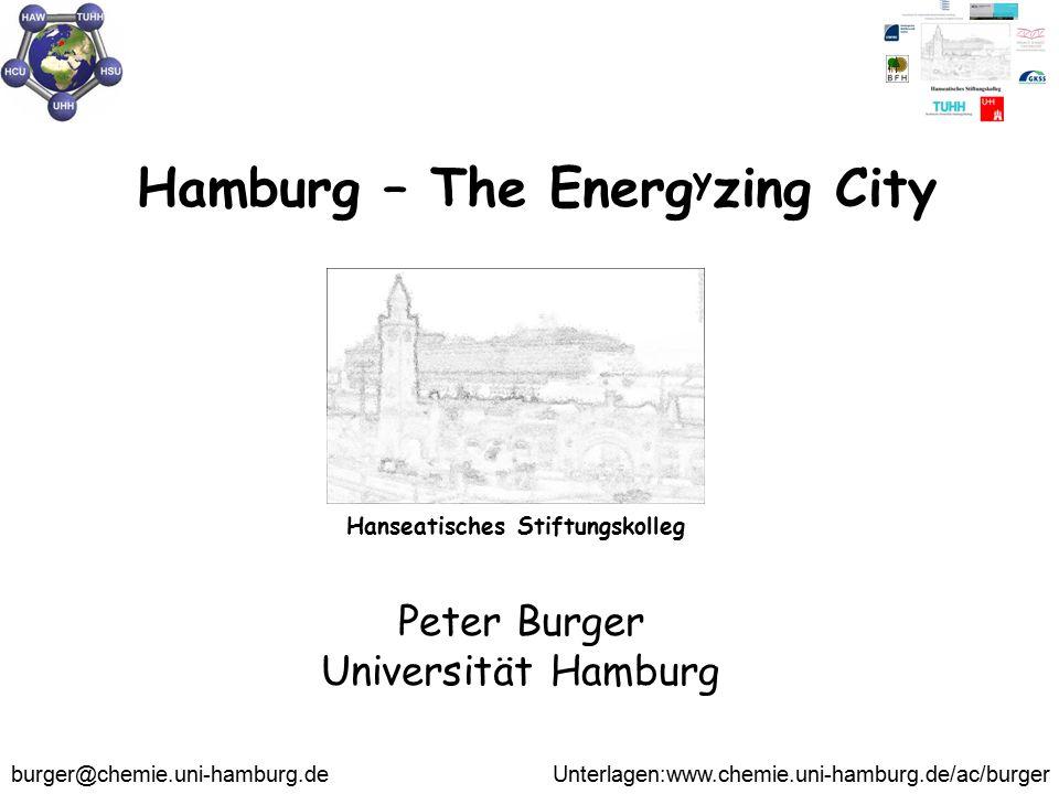 Hamburg – The Energ y zing City Peter Burger Universität Hamburg burger@chemie.uni-hamburg.de Unterlagen:www.chemie.uni-hamburg.de/ac/burger Hanseatis