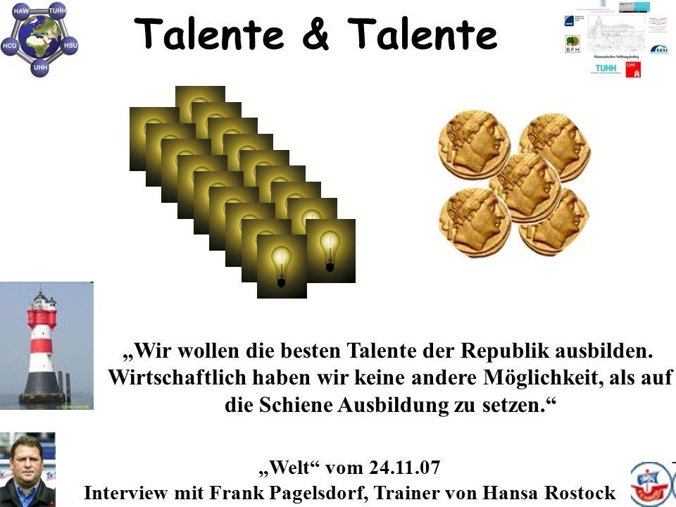 """Talente & Talente """"Welt"""" vom 24.11.07 Interview mit Frank Pagelsdorf, Trainer von Hansa Rostock """"Wir wollen die besten Talente der Republik ausbilden."""