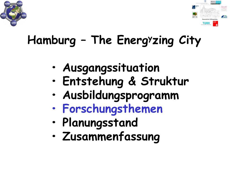 Hamburg – The Energ y zing City Ausgangssituation Entstehung & Struktur Ausbildungsprogramm Forschungsthemen Planungsstand Zusammenfassung