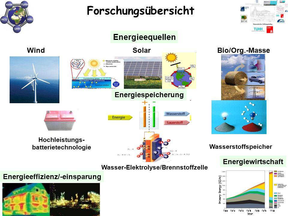 WindSolarBio/Org.-Masse Energieeffizienz/-einsparung Energieequellen Energiewirtschaft Hochleistungs- batterietechnologie Wasserstoffspeicher Wasser-E