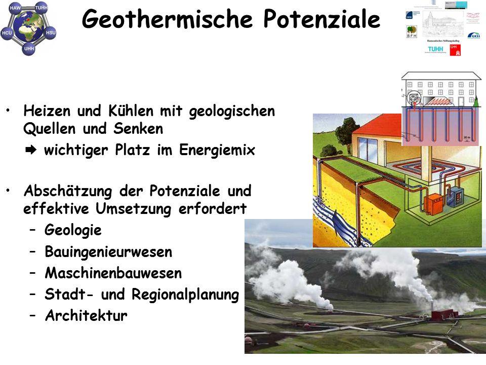 Geothermische Potenziale Heizen und Kühlen mit geologischen Quellen und Senken  wichtiger Platz im Energiemix Abschätzung der Potenziale und effektiv