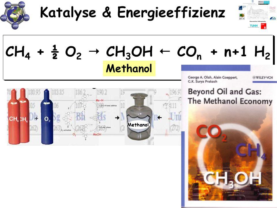 Katalyse & Energieeffizienz Methanol CH 4 + ½ O 2  CH 3 OH  CO n + n+1 H 2 Methanol