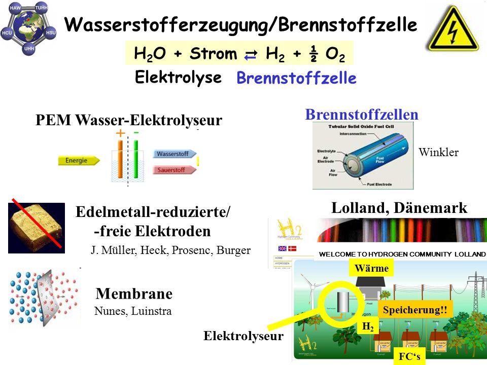 Wasserstofferzeugung/Brennstoffzelle H 2 O + Strom  H 2 + ½ O 2 PEM Wasser-Elektrolyseur Membrane Nunes, Luinstra J. Müller, Heck, Prosenc, Burger Ed