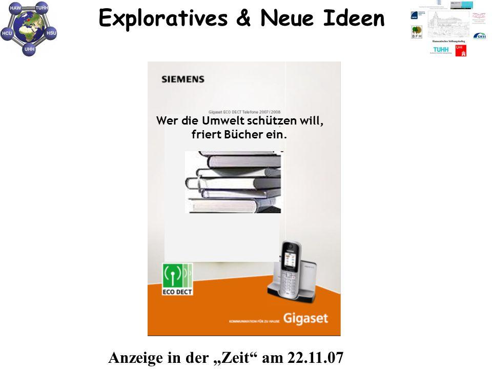 """Wer die Umwelt schützen will, friert Bücher ein. Exploratives & Neue Ideen Anzeige in der """"Zeit"""" am 22.11.07"""