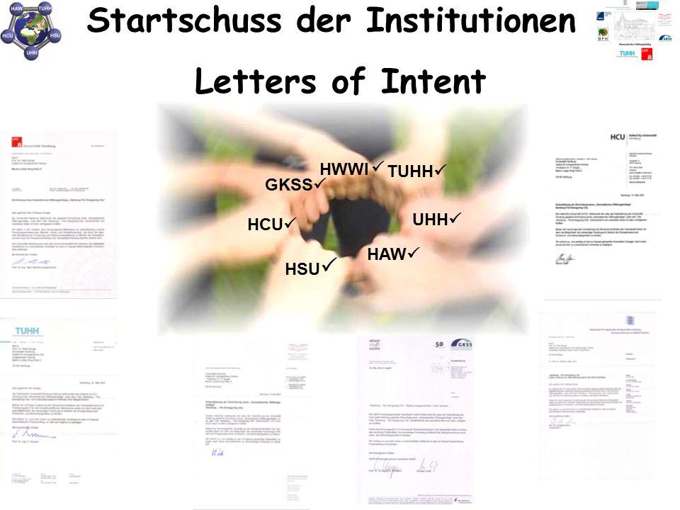Startschuss der Institutionen HCU  GKSS  HWWI TUHH  UHH  HSU  HAW  Letters of Intent 