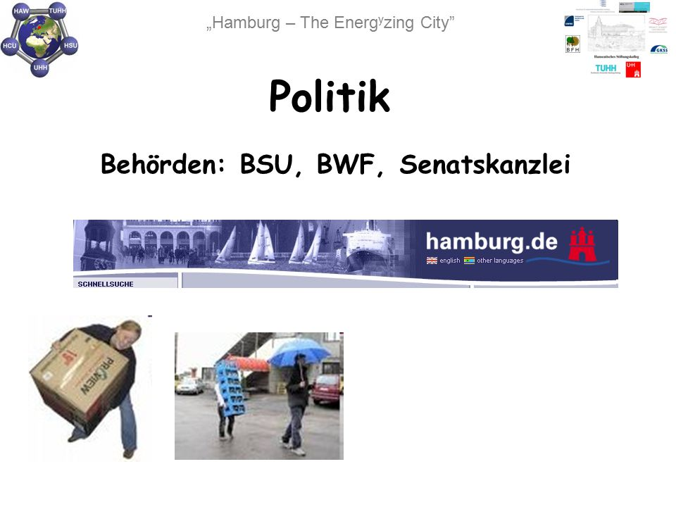 """""""Hamburg – The Energ y zing City"""" Politik Behörden: BSU, BWF, Senatskanzlei"""