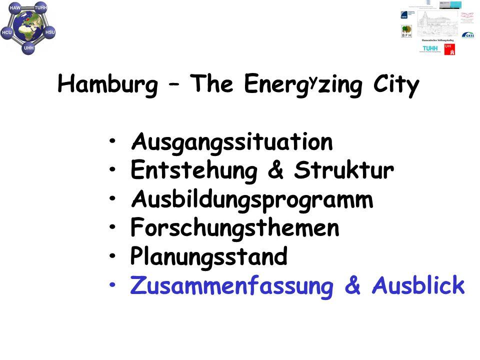 Hamburg – The Energ y zing City Ausgangssituation Entstehung & Struktur Ausbildungsprogramm Forschungsthemen Planungsstand Zusammenfassung & Ausblick