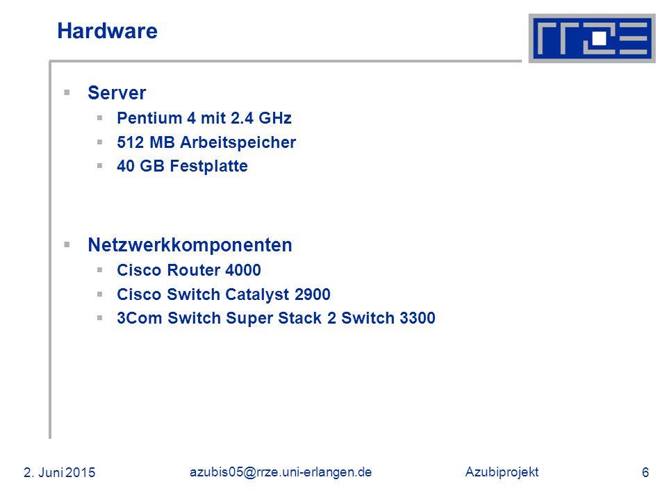 Azubiprojekt 02.06.2015 azubis05@rrze.uni-erlangen.de 47 Windows 2003 Server - Zusammenfassung  Dienste auf Windows Server  DHCP (Dynamisch)  Funktioniert  DNS  Funktioniert nur im Servernetz  Domain Controller  Funktioniert  Active Directory  Funktioniert nicht  Terminalserverdienst  Funktioniert nicht