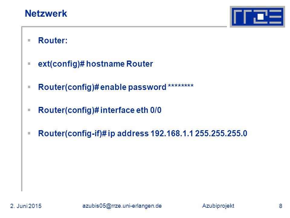 Azubiprojekt 02.06.2015 azubis05@rrze.uni-erlangen.de 39 Installation von NetWare 6.5  Servername auswählen: Spanky  Netzwerkkarte konfigurieren:  RTSSRV [x] IP IP-Adresse: [192.168.1.5] Teilnetzmaske: [255.255.255.0] Router (Gateway) [192.168.1.1]  Domäne: azubi.local