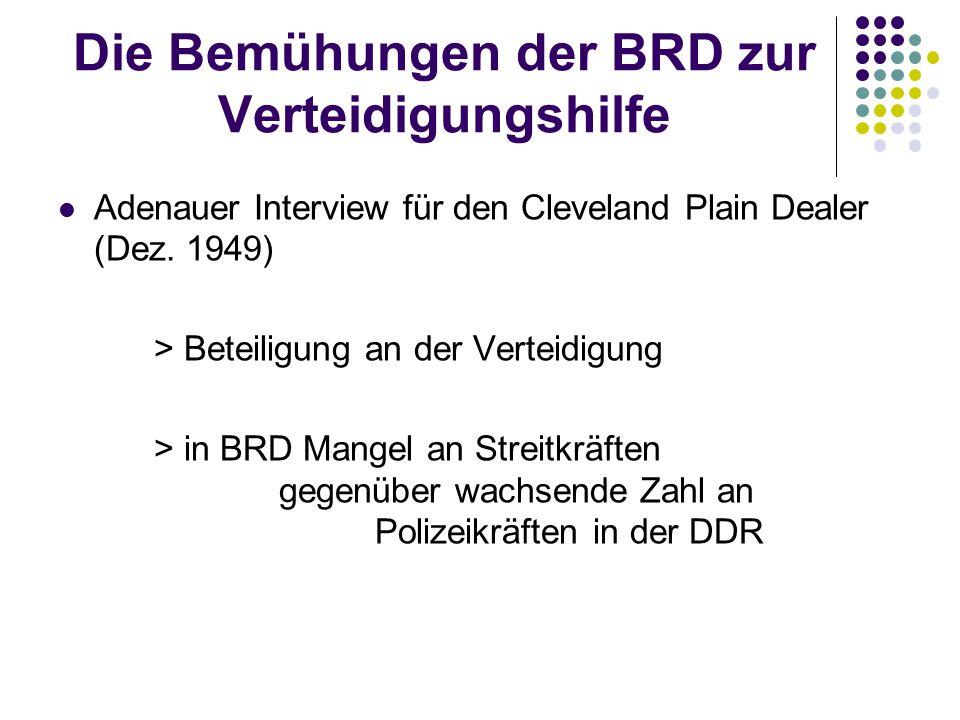 Die Bemühungen der BRD zur Verteidigungshilfe Adenauer Interview für den Cleveland Plain Dealer (Dez. 1949) > Beteiligung an der Verteidigung > in BRD