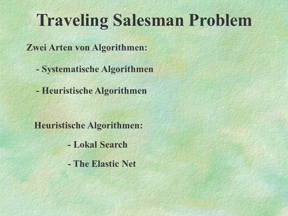 Traveling Salesman Problem Voraussetzungen: - Lagekoordinaten der Sehenswürdigkeiten - alle Sehenswürdigkeiten sind miteinander verbunden Damit gibt es (n-1).