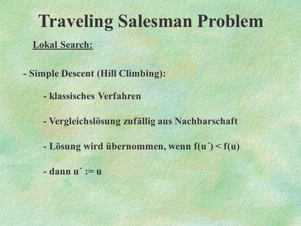 Traveling Salesman Problem Lokal Search: Es gibt einzelne Untertypen von Lokal Search, welche sich vor allem durch das Auswahlverfahren der Lösungen unter- scheiden.