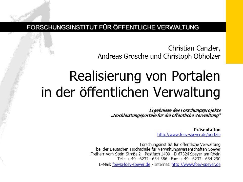 3 Realisierung von Portalen in der Verwaltung 42 7.