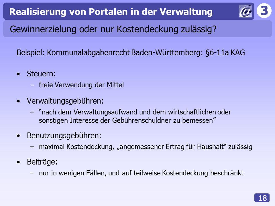3 Realisierung von Portalen in der Verwaltung 18 Gewinnerzielung oder nur Kostendeckung zulässig? Beispiel: Kommunalabgabenrecht Baden-Württemberg: §6