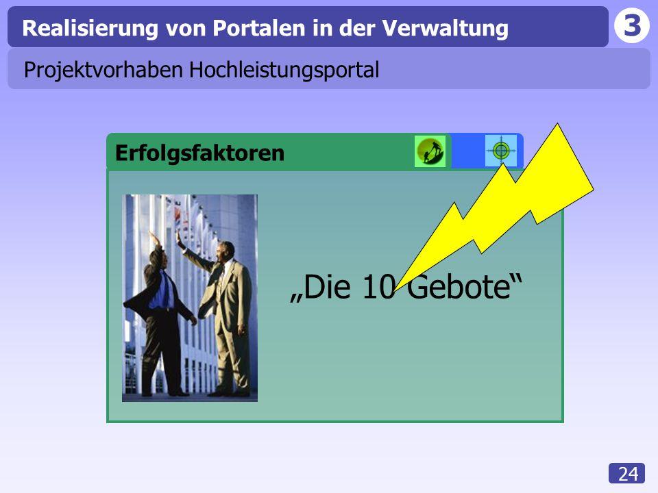 """3 Realisierung von Portalen in der Verwaltung 24 Portaleinführung Erfolgsfaktoren Projektvorhaben Hochleistungsportal """"Die 10 Gebote"""""""