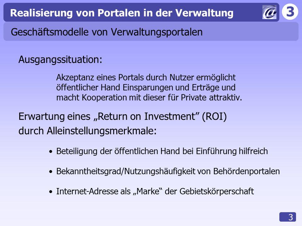3 Realisierung von Portalen in der Verwaltung 14 Abrechnung Unproblematisch zwischen Verwaltung und ihren privaten Projektpartnern oder Betreibern Schwierigkeit der Abrechnung v.a.