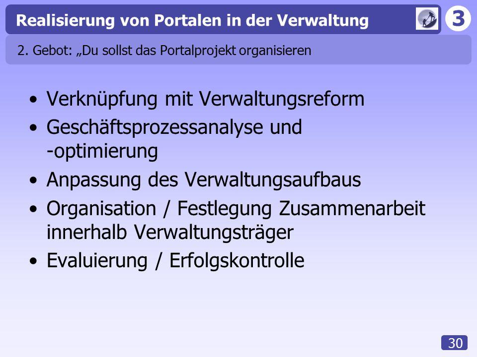 """3 Realisierung von Portalen in der Verwaltung 30 2. Gebot: """"Du sollst das Portalprojekt organisieren Verknüpfung mit Verwaltungsreform Geschäftsprozes"""