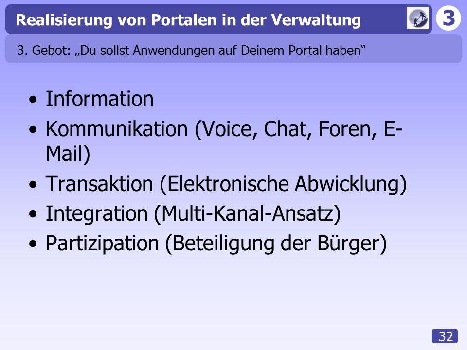 """3 Realisierung von Portalen in der Verwaltung 32 3. Gebot: """"Du sollst Anwendungen auf Deinem Portal haben"""" Information Kommunikation (Voice, Chat, For"""