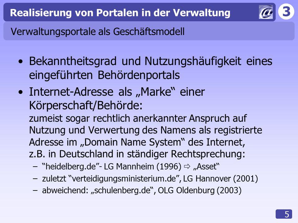 3 Realisierung von Portalen in der Verwaltung 5 Verwaltungsportale als Geschäftsmodell Bekanntheitsgrad und Nutzungshäufigkeit eines eingeführten Behö