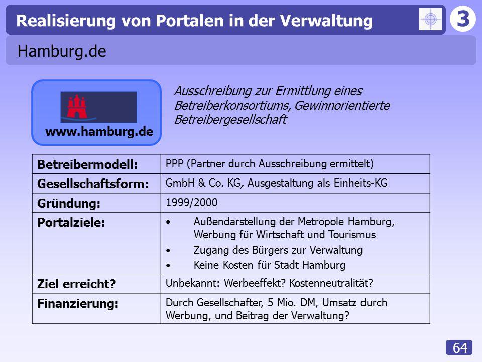 3 Realisierung von Portalen in der Verwaltung 64 Hamburg.de www.hamburg.de Betreibermodell: PPP (Partner durch Ausschreibung ermittelt) Gesellschaftsf