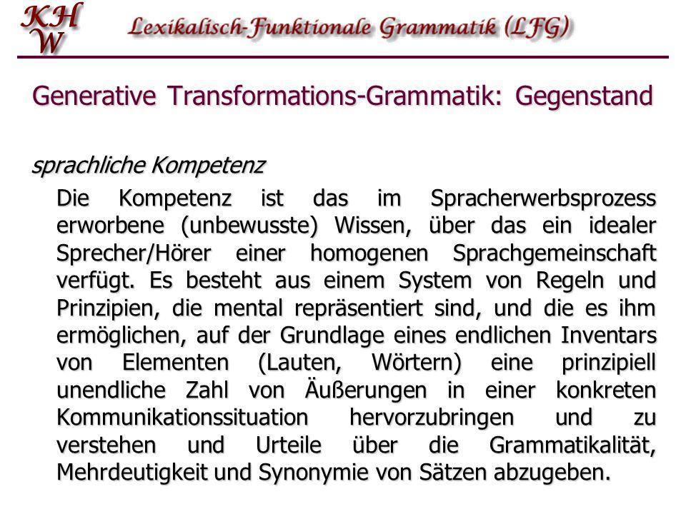 """Generative Transformations-Grammatik: Gegenstand idealer Sprecher/Hörer """"Der Gegenstand einer linguistischen Theorie ist in erster Linie ein idealer S"""