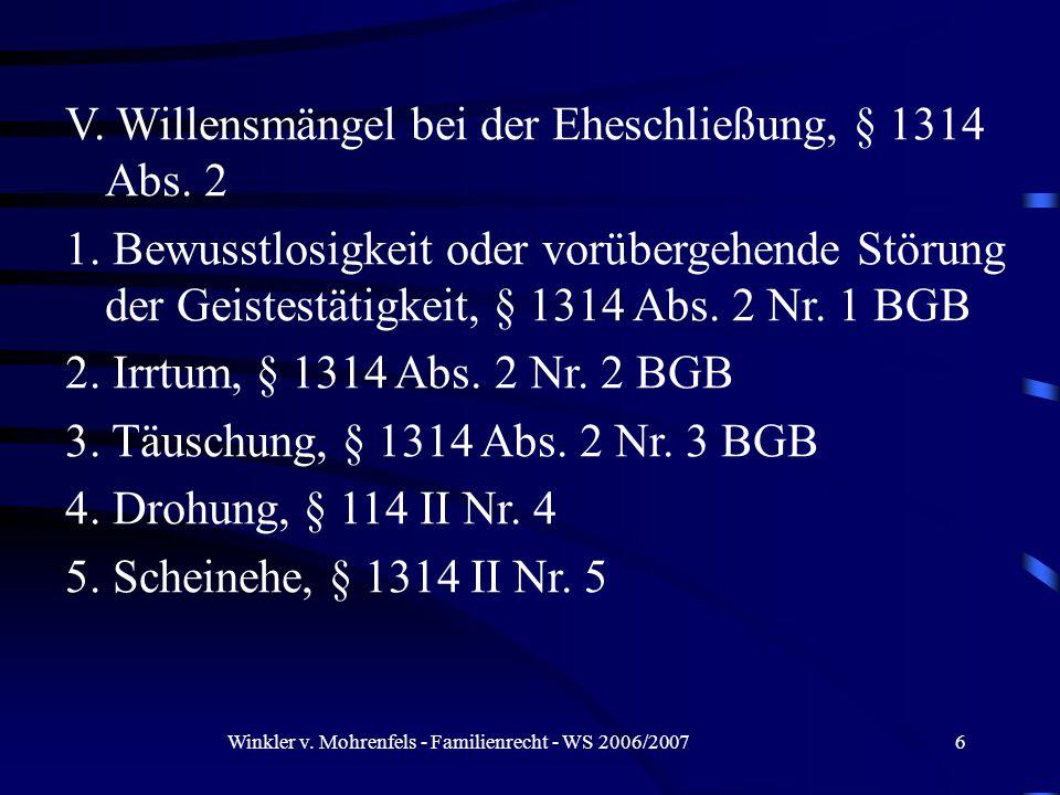 Winkler v. Mohrenfels - Familienrecht - WS 2006/20076 V.