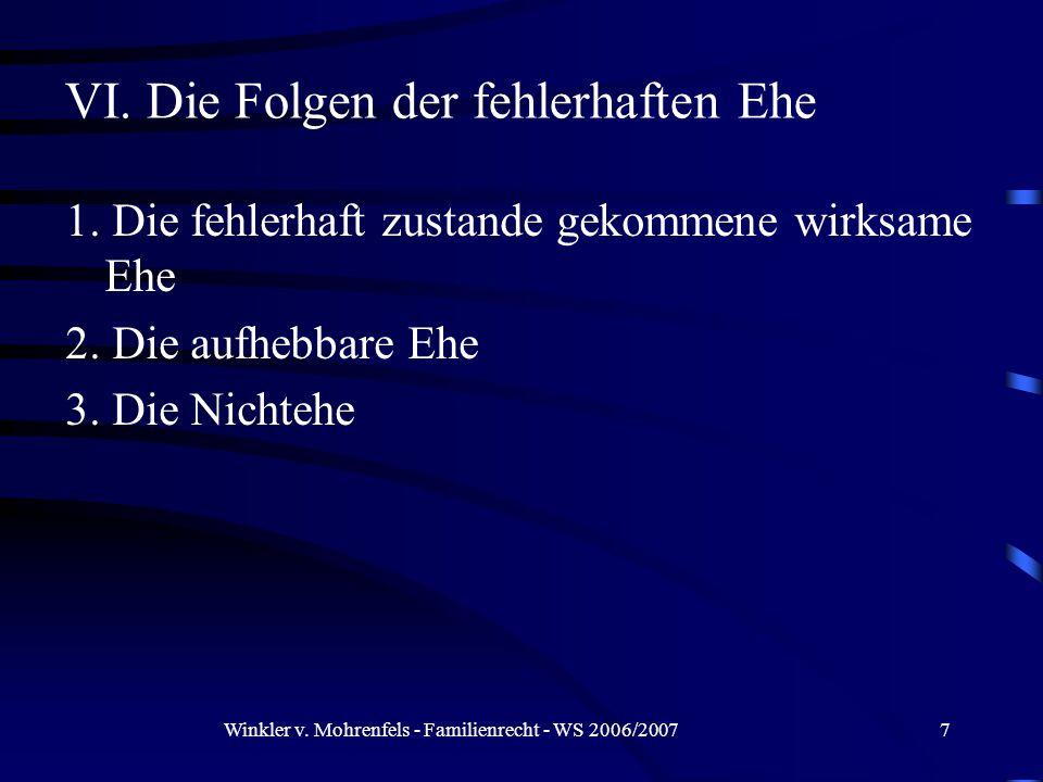Winkler v. Mohrenfels - Familienrecht - WS 2006/20077 1.