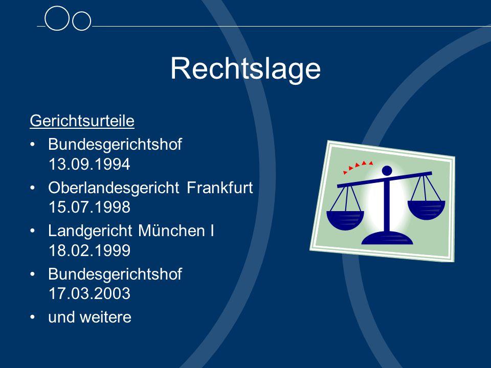Rechtslage Gerichtsurteile Bundesgerichtshof 13.09.1994 Oberlandesgericht Frankfurt 15.07.1998 Landgericht München I 18.02.1999 Bundesgerichtshof 17.03.2003 und weitere