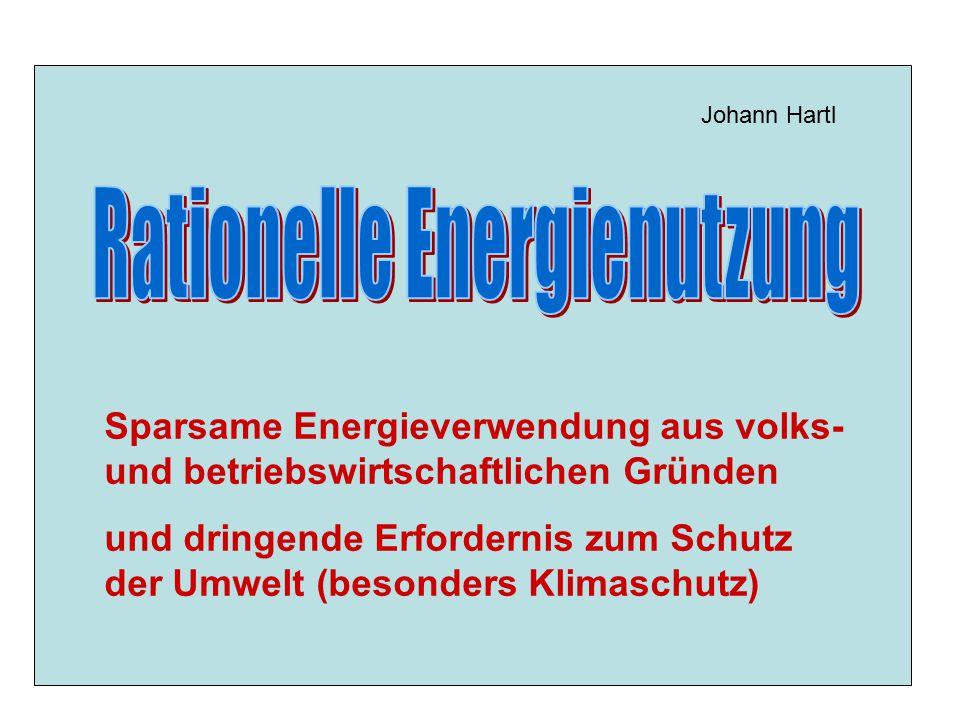 Sparsame Energieverwendung aus volks- und betriebswirtschaftlichen Gründen und dringende Erfordernis zum Schutz der Umwelt (besonders Klimaschutz) Joh