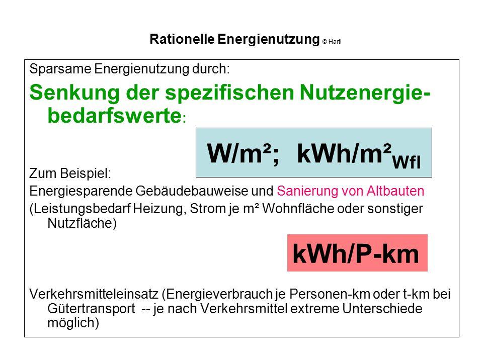 Rationelle Energienutzung © Hartl Sparsame Energienutzung durch: Senkung der spezifischen Nutzenergie- bedarfswerte : Zum Beispiel: Energiesparende Ge
