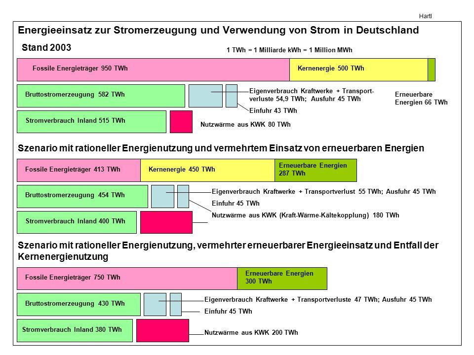 Hartl Energieeinsatz zur Stromerzeugung und Verwendung von Strom in Deutschland Stand 2003 Szenario mit rationeller Energienutzung und vermehrtem Eins