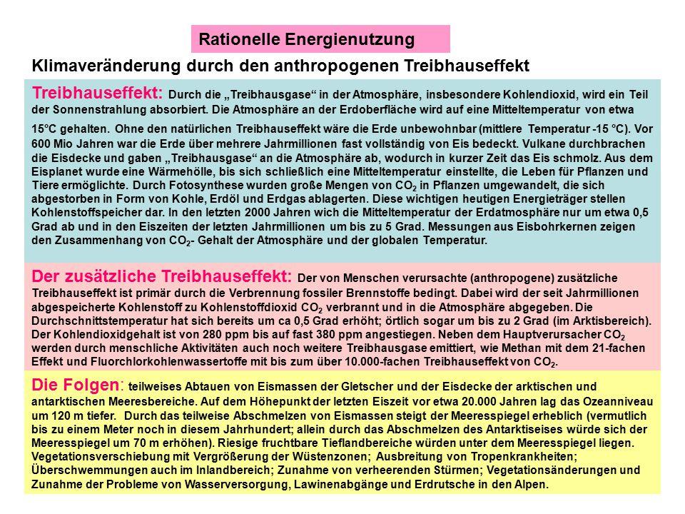 Rationelle Energienutzung Zu hoher Energieverbrauch = Schaden für die Umwelt mit Gefährdung der Menschheit und ein Problem für die Volkswirtschaft Der derzeitige Primärenergieverbrauch Deutschlands liegt bei ca.