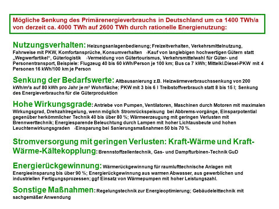 Mögliche Senkung des Primärenergieverbrauchs in Deutschland um ca 1400 TWh/a von derzeit ca. 4000 TWh auf 2600 TWh durch rationelle Energienutzung: Nu
