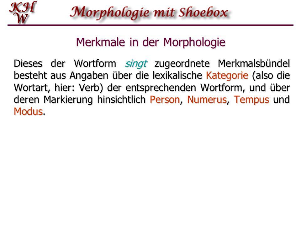 Merkmale in der Morphologie Dieses der Wortform singt zugeordnete Merkmalsbündel besteht aus Angaben über die lexikalische Kategorie (also die Wortart, hier: Verb) der entsprechenden Wortform, und über deren Markierung hinsichtlich Person, Numerus, Tempus und Modus.