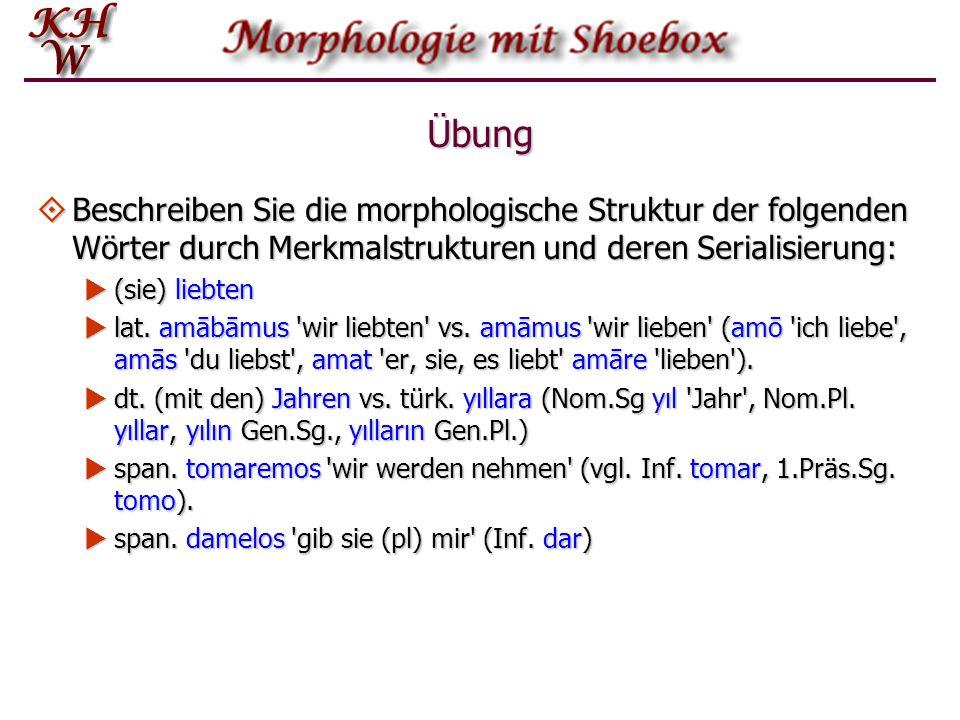 Übung  Beschreiben Sie die morphologische Struktur der folgenden Wörter durch Merkmalstrukturen und deren Serialisierung:  (sie) liebten  lat.